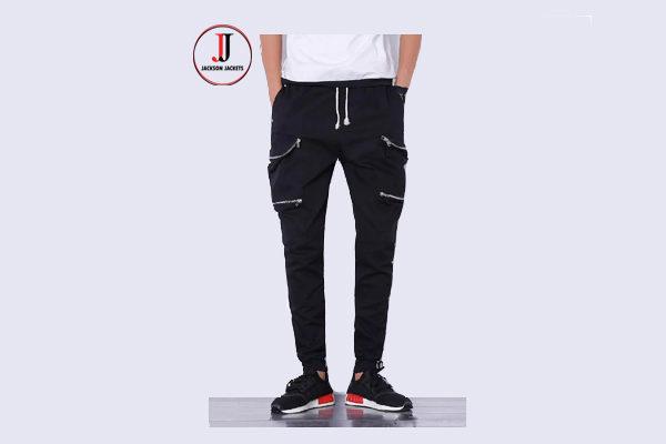 eaf0c2d3 Mens black Joggers Cargo Pants Solid Slim Tights Zipper Trousers ...
